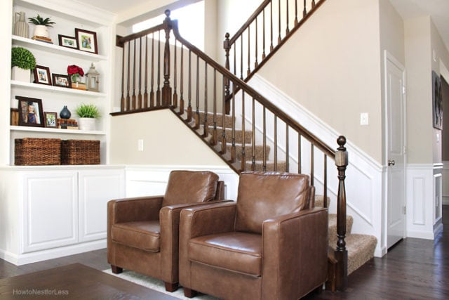 brown leather chairs and Revere Pewter walls