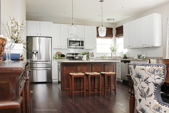 white kitchen dark island cabinets - How to Nest for Less™