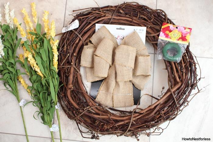yellow flower burlap wreath supplies