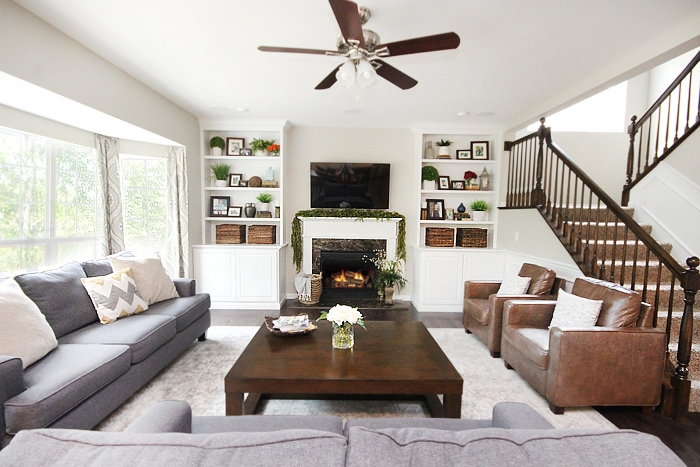 family room makeover gray couches
