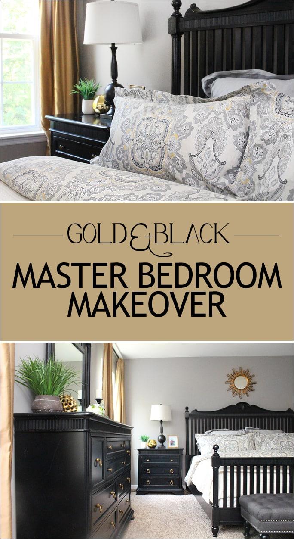 gold and black master bedroom makeover