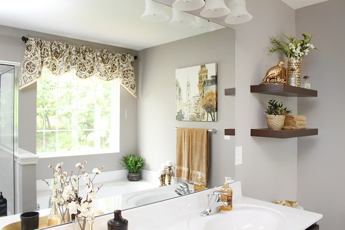 master bath floating shelves