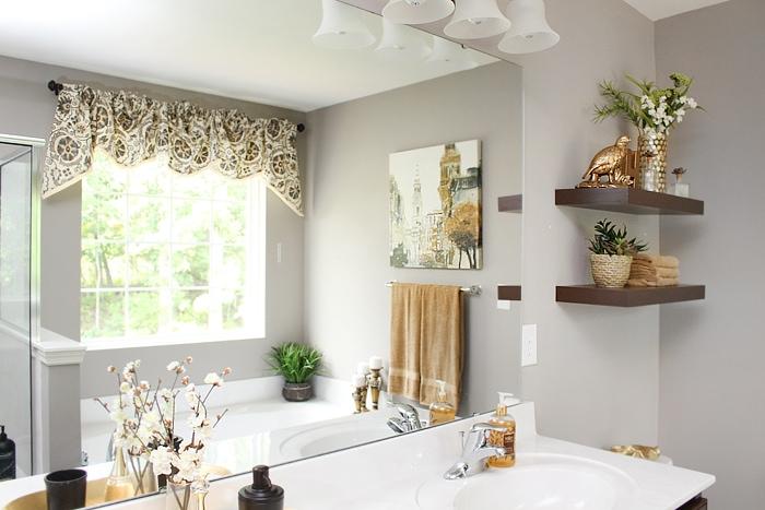 master bath floating shelves