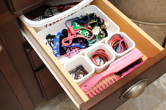 Hair ties and headbands organized.