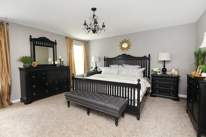 master bedroom gold and black decor