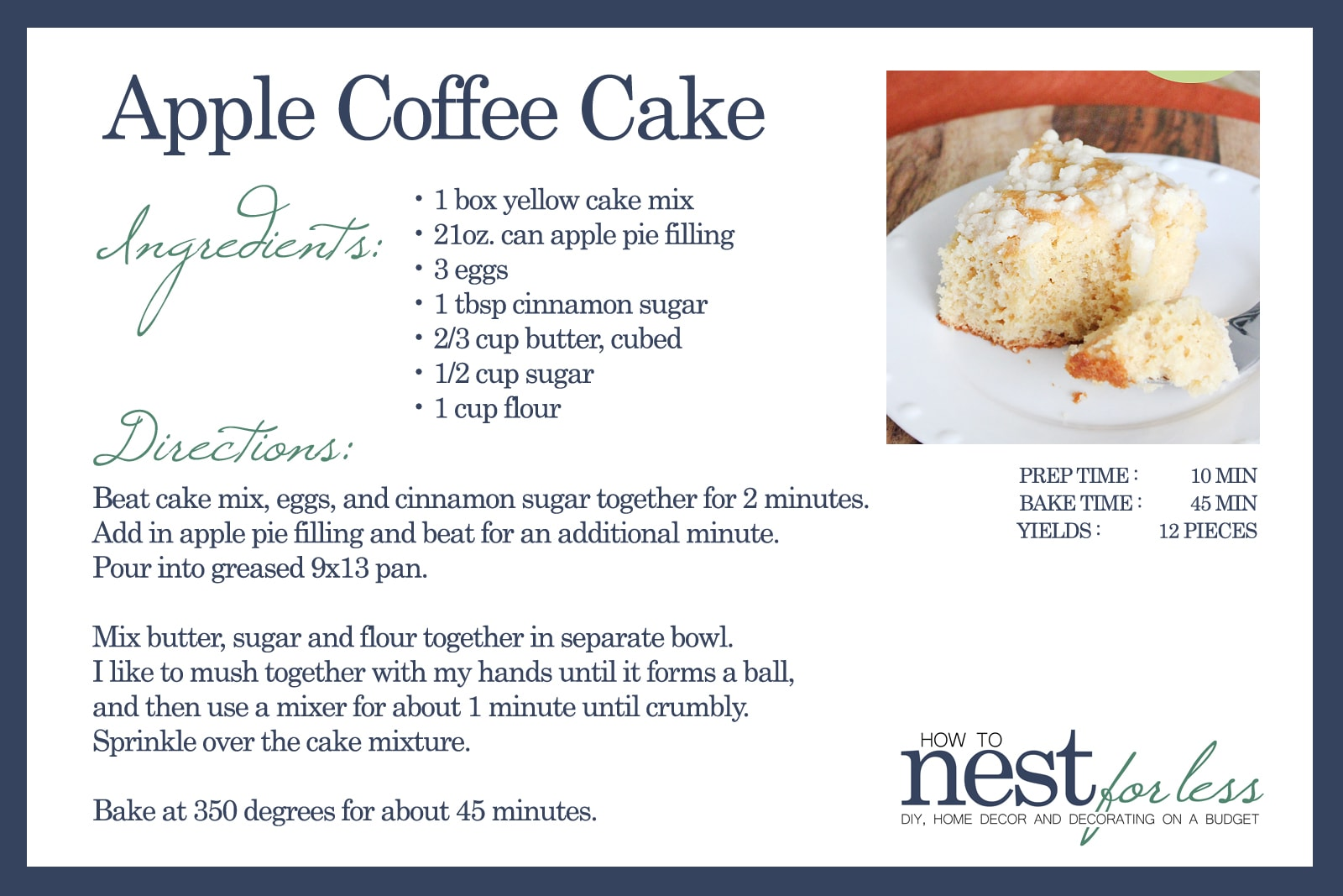 apple coffee cake recipe card