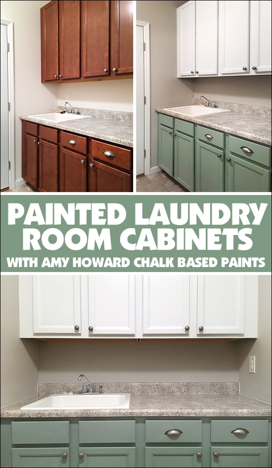 before and after laundry room cabinets