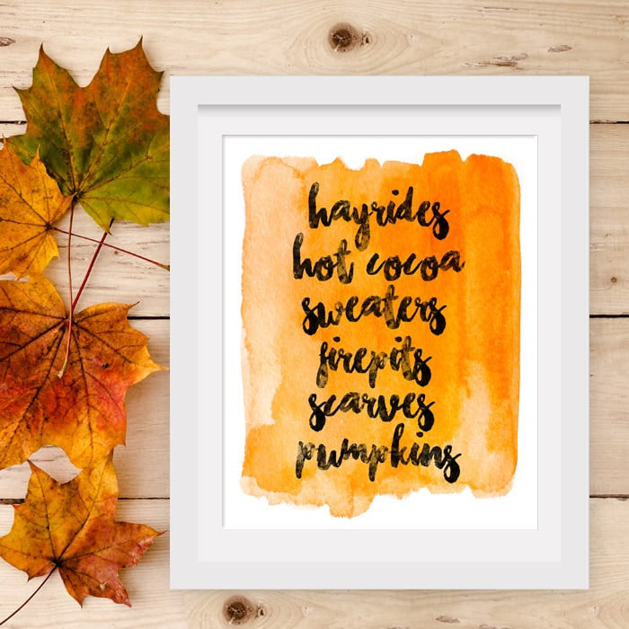 fall watercolor printable