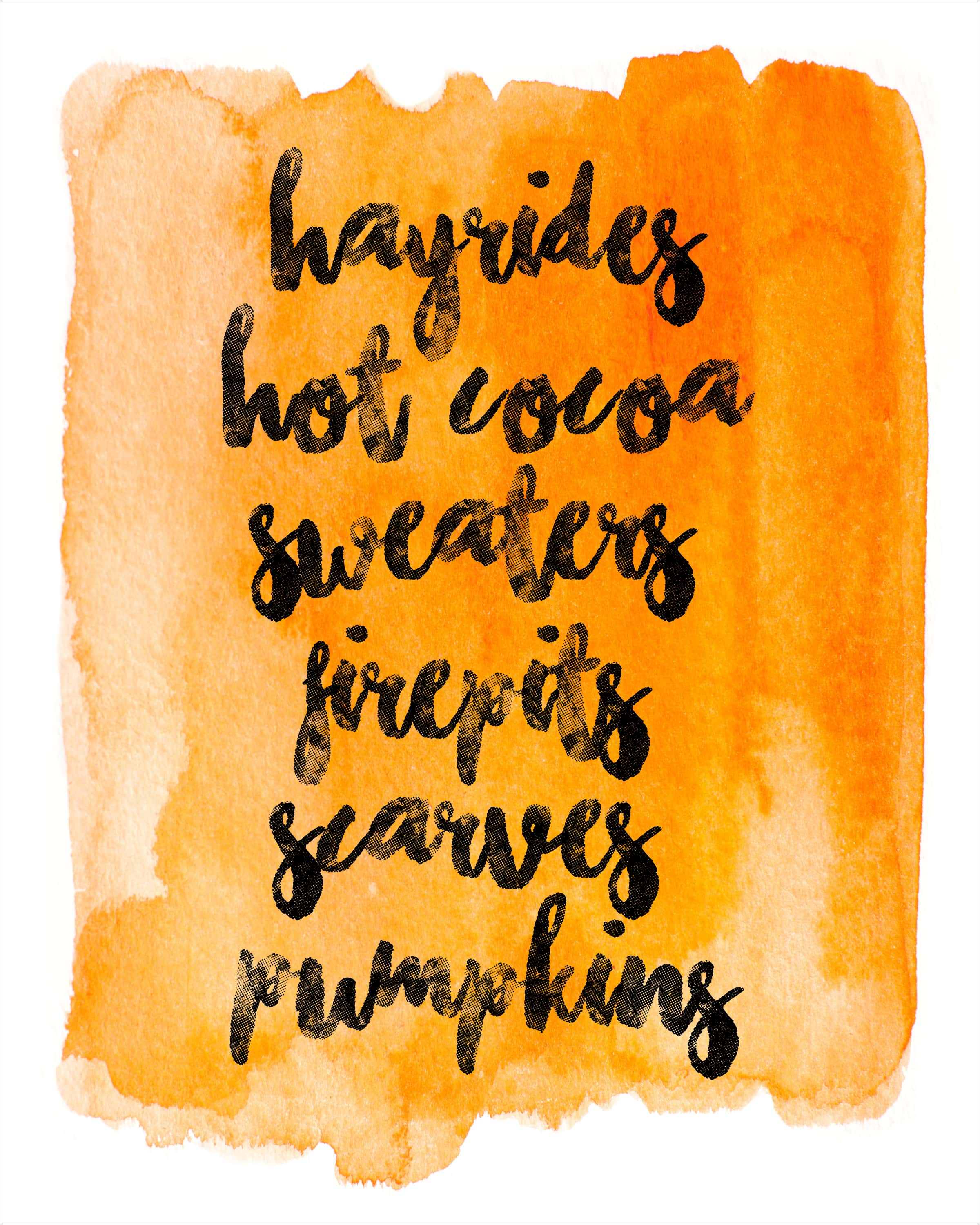 Fall Watercolor & Bucket List Printable