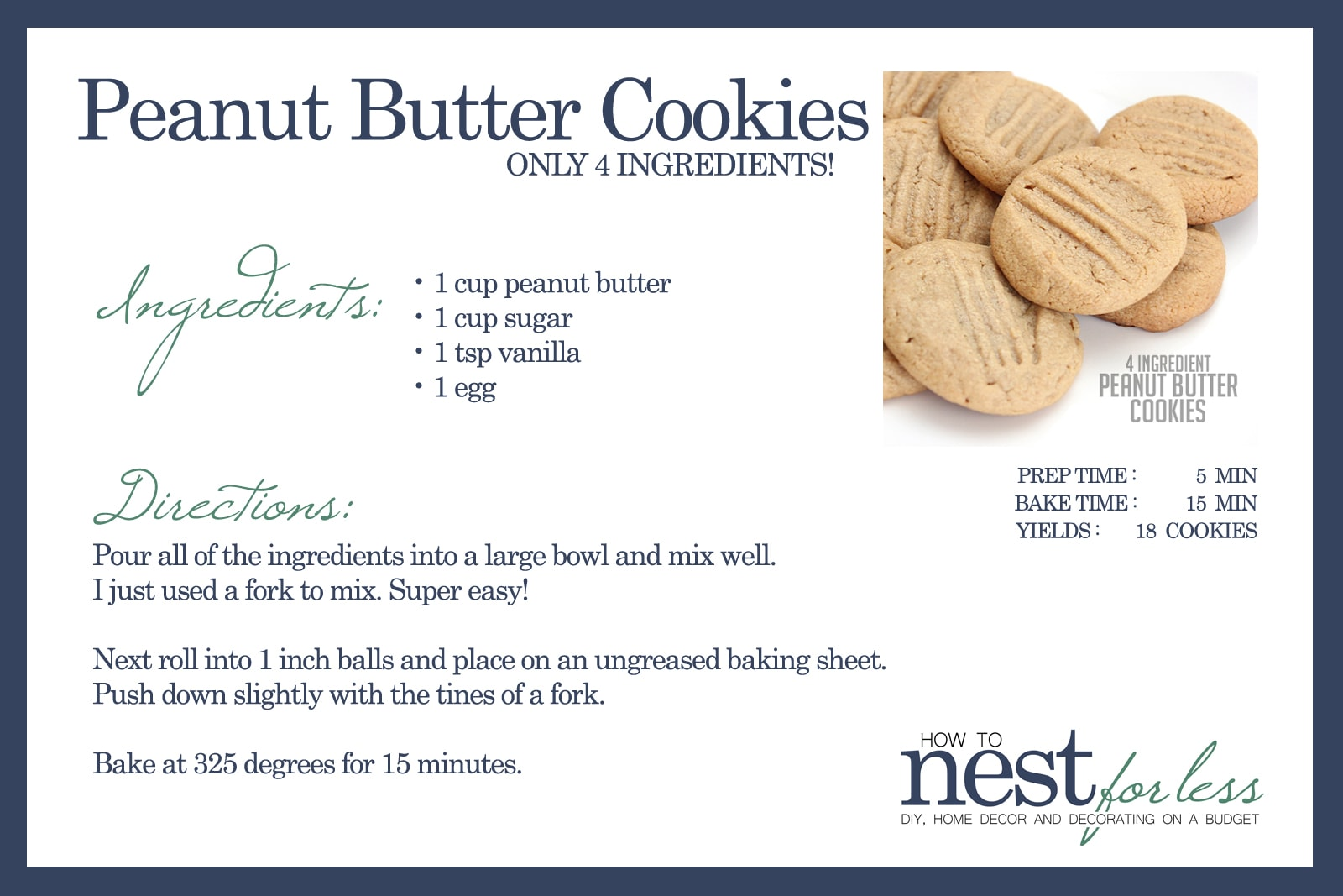 Peanut Butter Cookies Recipe Card