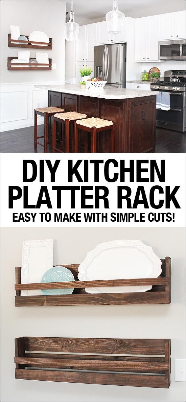 DIY kitchen platter rack graphic.