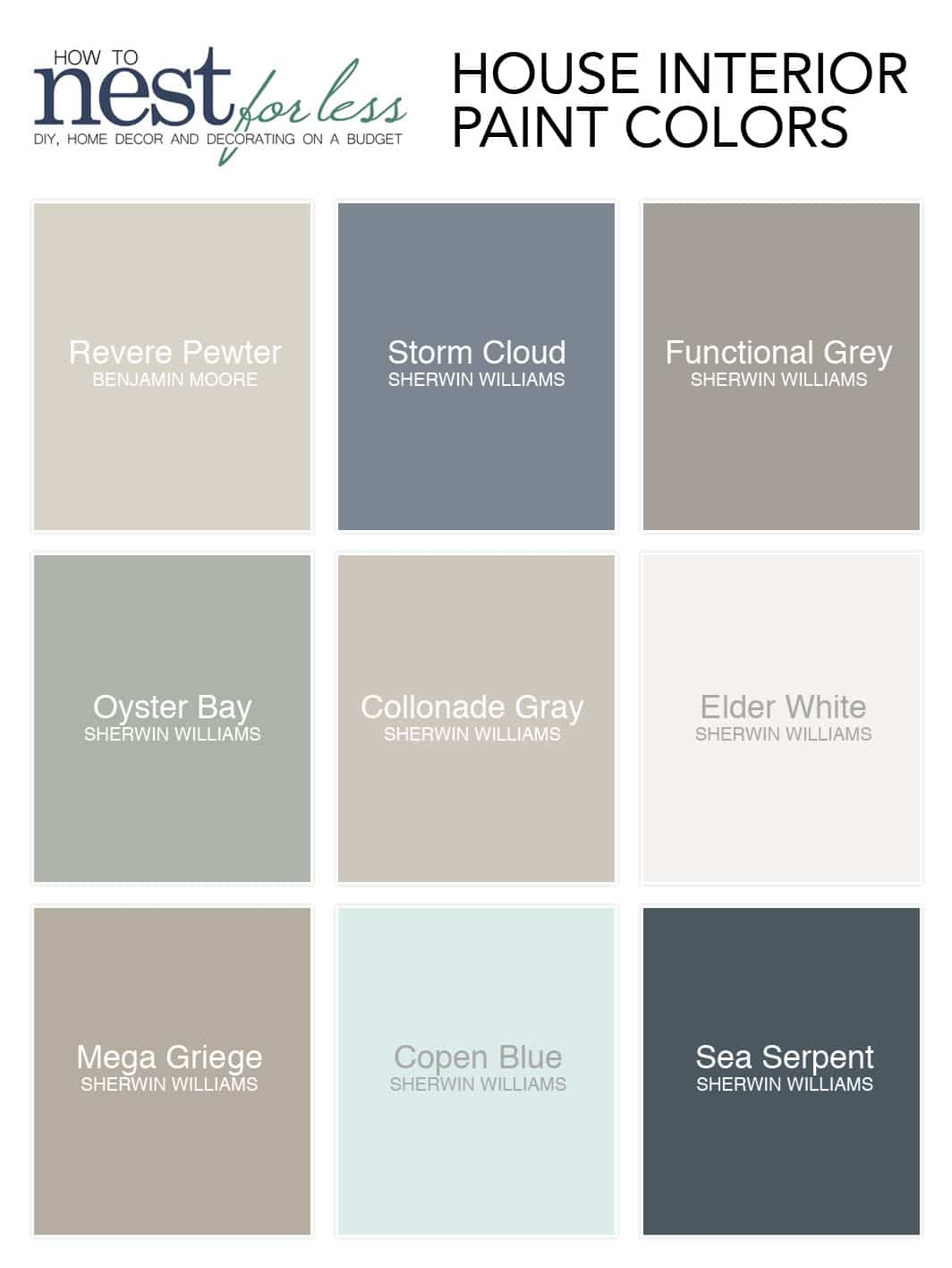 House paint colors with the names on the swatches.
