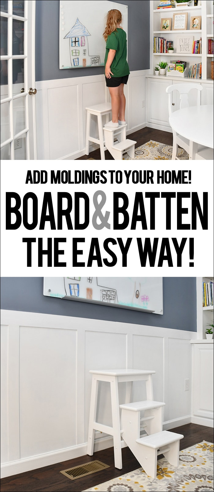 Add moldings to your home board & batten the easy way poster.