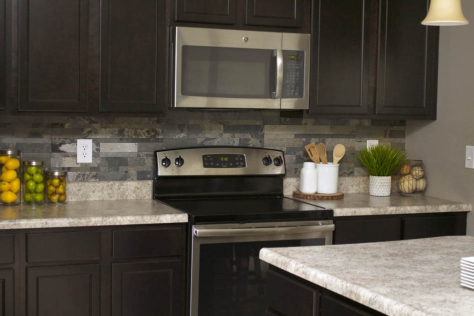 Faux Stone Kitchen Backsplash