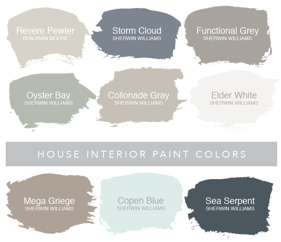 House paint colors that coordinate with the names.