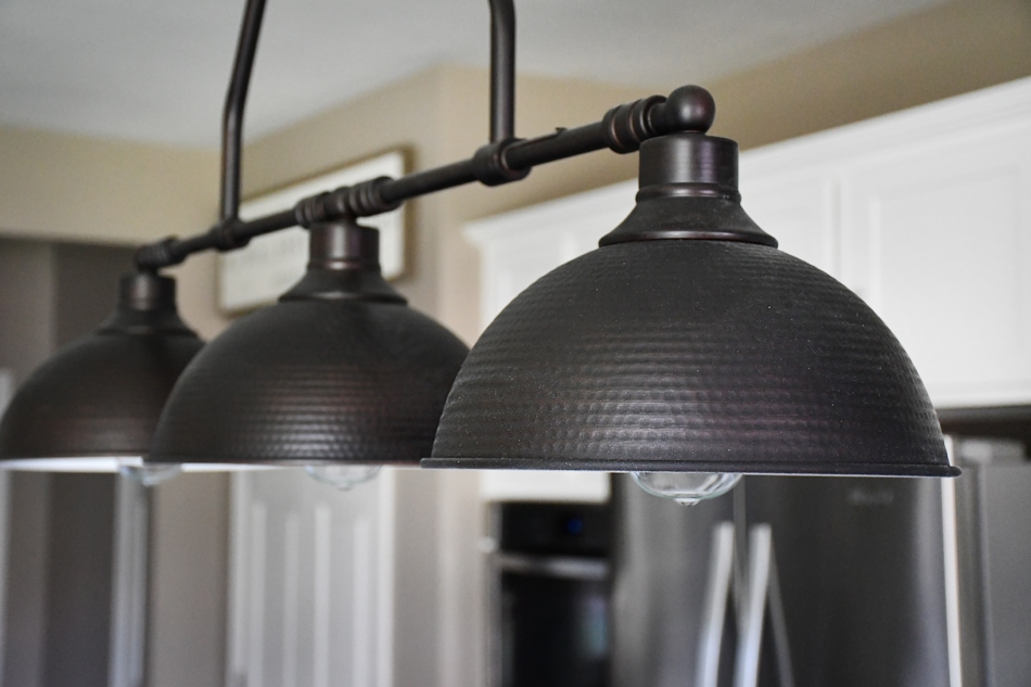 Up close picture of the brushed stainless steel lights.