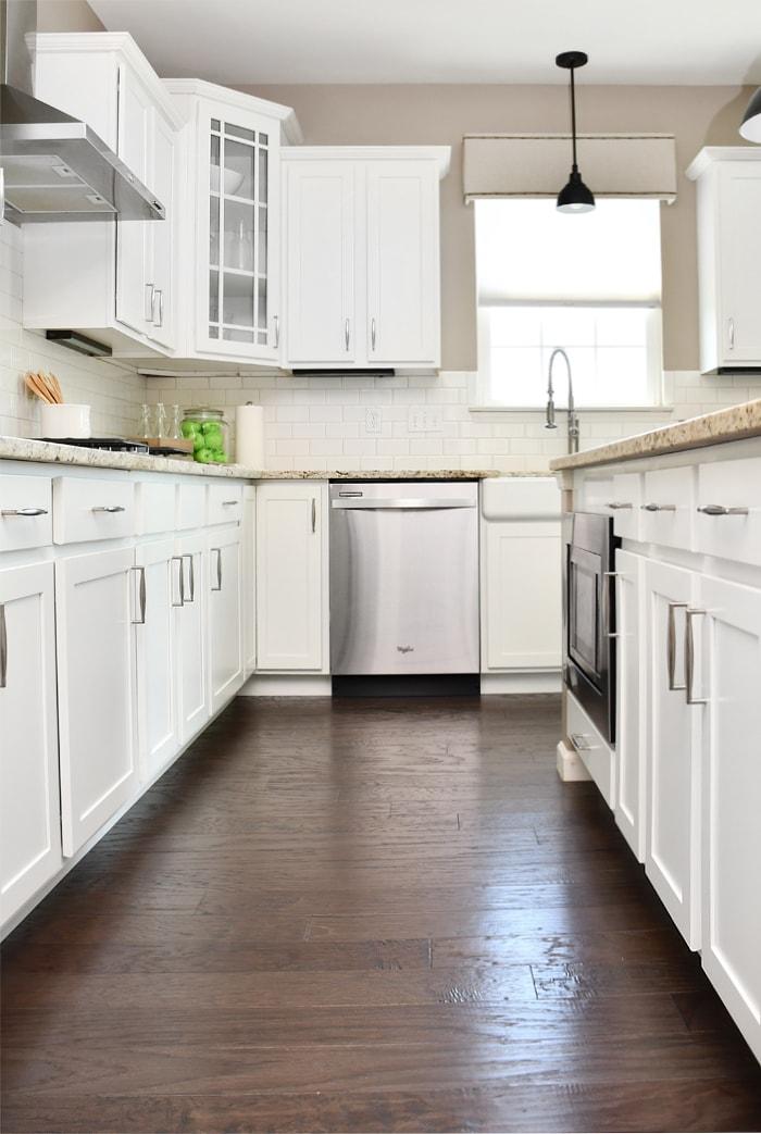 Dark wooden floors in the kitchen.