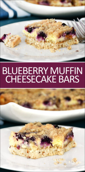 Blueberry muffin cheesecake bars graphic.