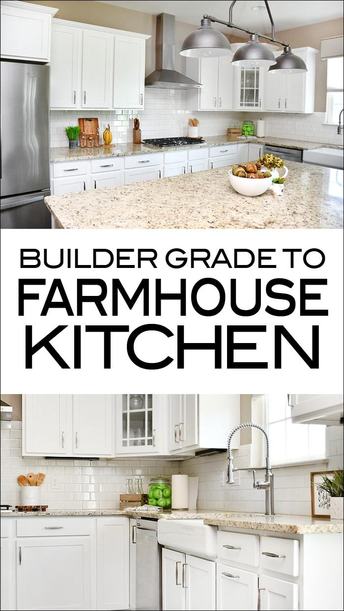 Builder grade to farmhouse kitchen graphic.