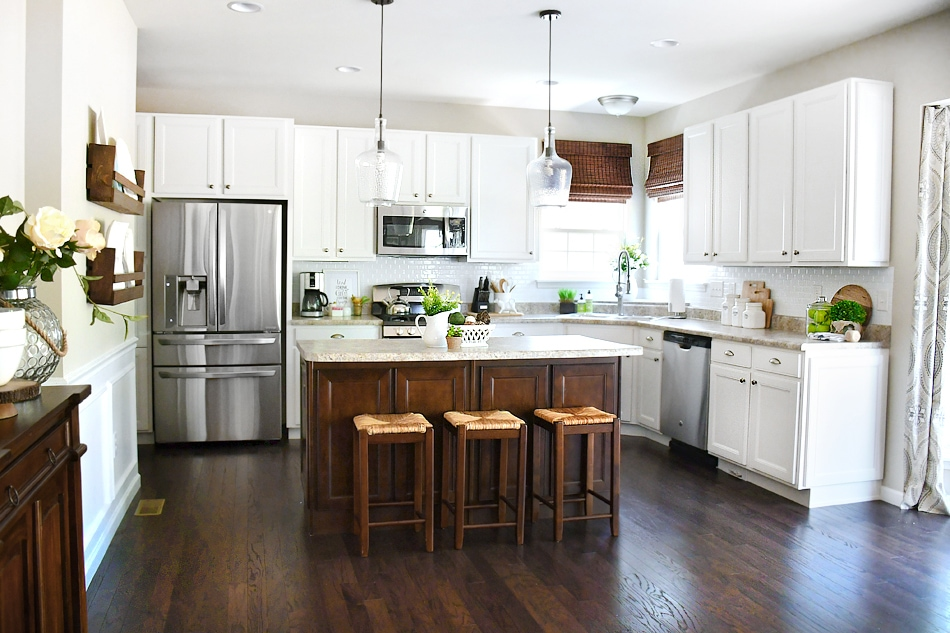 White Cabinets Dark Kitchen Island How To Nest For Less
