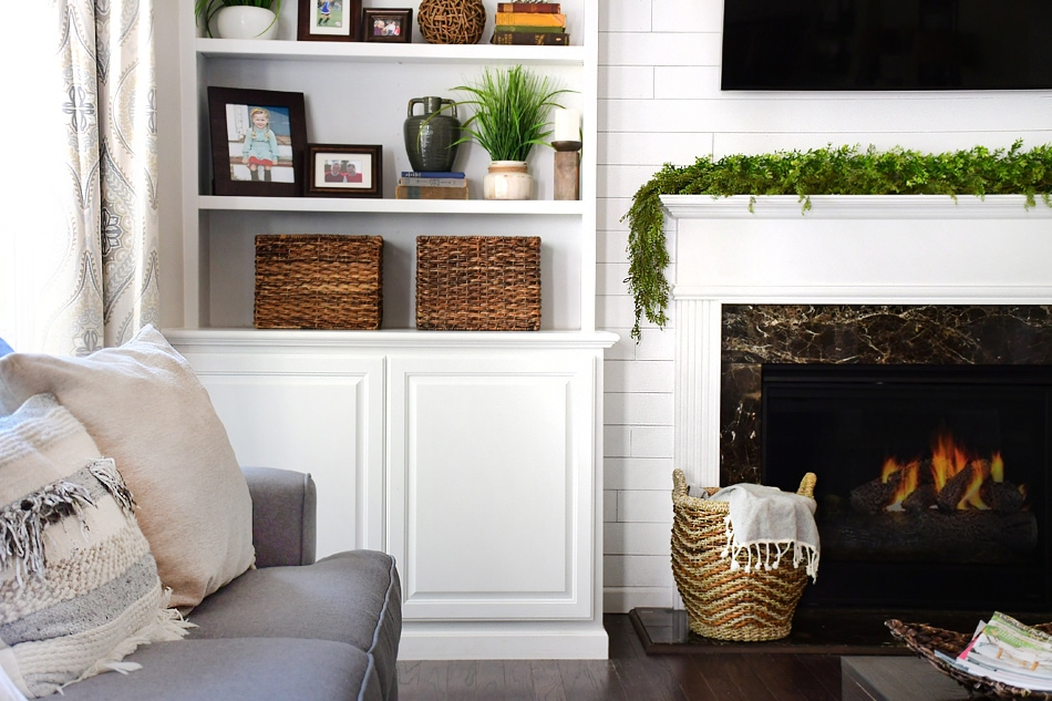 Cool Family Room Makeover With White Built Ins And Charcoal Couches Ncnpc Chair Design For Home Ncnpcorg