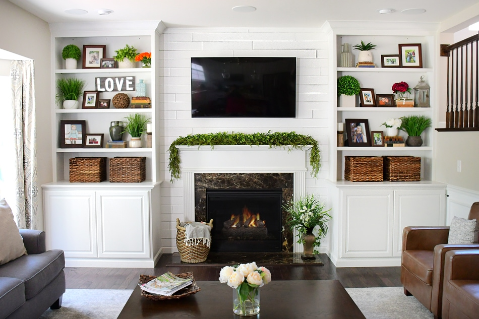 Adding shiplap to built ins around fireplace in family room for Bookshelves next to fireplace