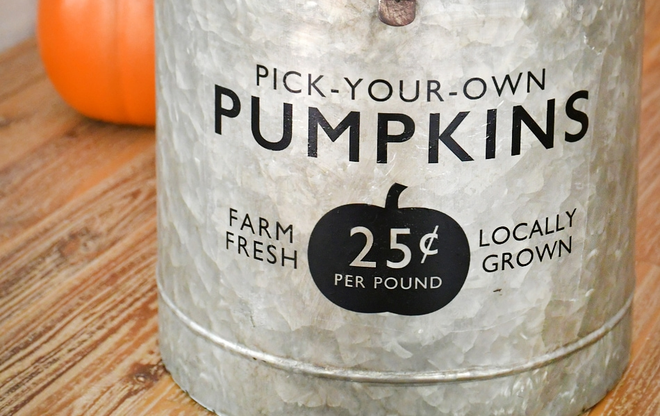 The black pick your own pumpkins on the bucket.