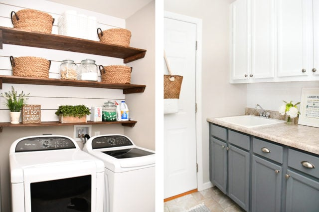 budget laundry room makeover gray cabinets