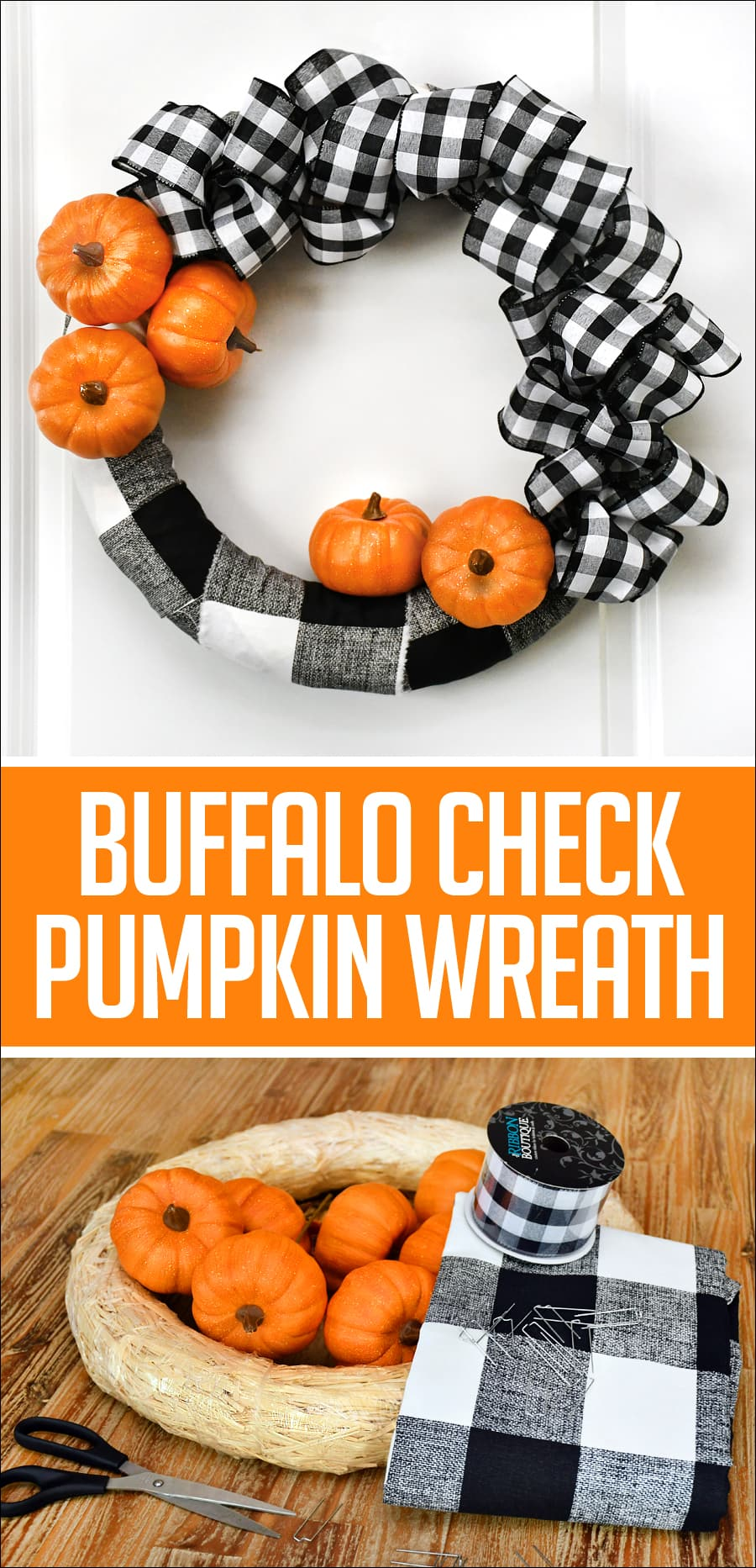 Buffalo check pumpkin wreath poster.