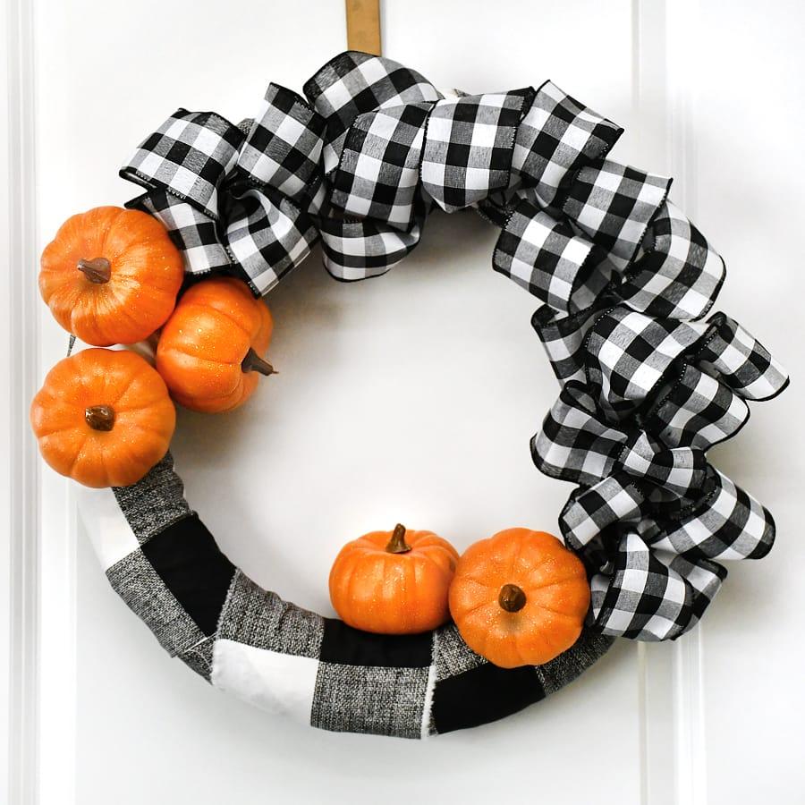 Buffalo Check Pumpkin Wreath For Fall Easy Tutorial