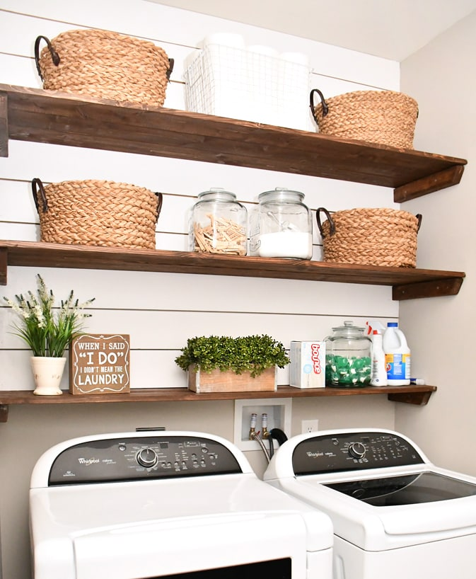 Laundry room shiplap and diy wood shelves easy tutorial for Laundry room shelving diy