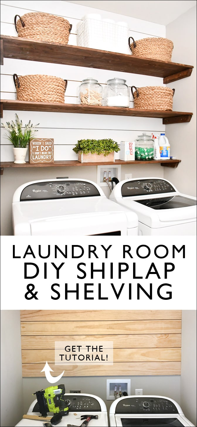 diy laundry room shiplap and shelving how to nest for less