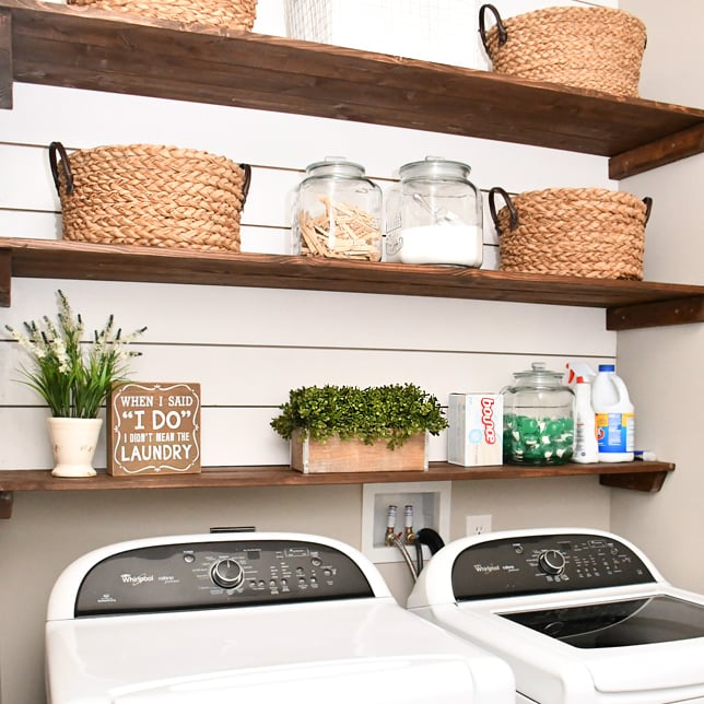 Laundry Room Shiplap And DIY Wood Shelves