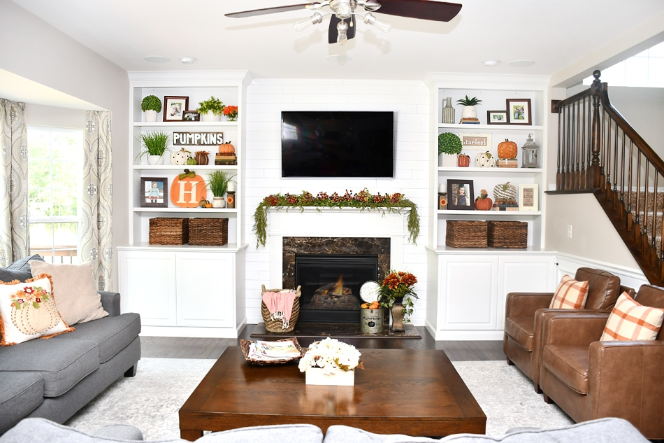 Family Room Decorations fall house tour and decorating ideas - family room