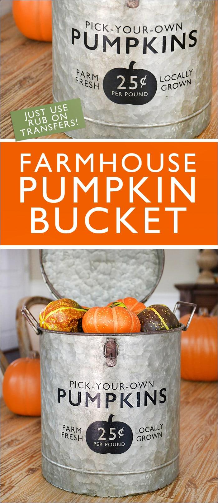 Farmhuse pumpkin bucket poster.