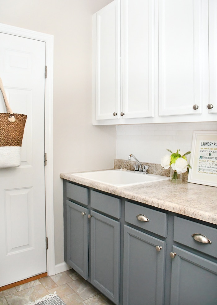 Charmant So You Might Remember That We Painted The Laundry Room Cabinets Last Fall.  Whelp, We Changed Our Mind On The Color And Decided To Carry The Gray Blue  Color ...