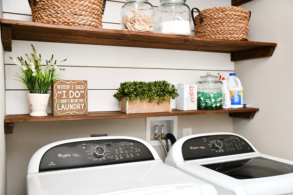 Budget Laundry Room Makeover With Diy Shiplap And Stained