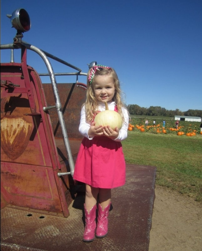 Little girl in pink dress and boots on truck in pumpkin patch.
