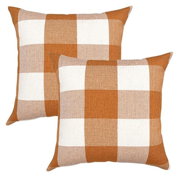 orange and white buffalo check pillow covers