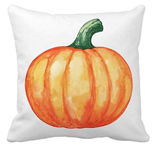 watercolor pumpkin pillow cover
