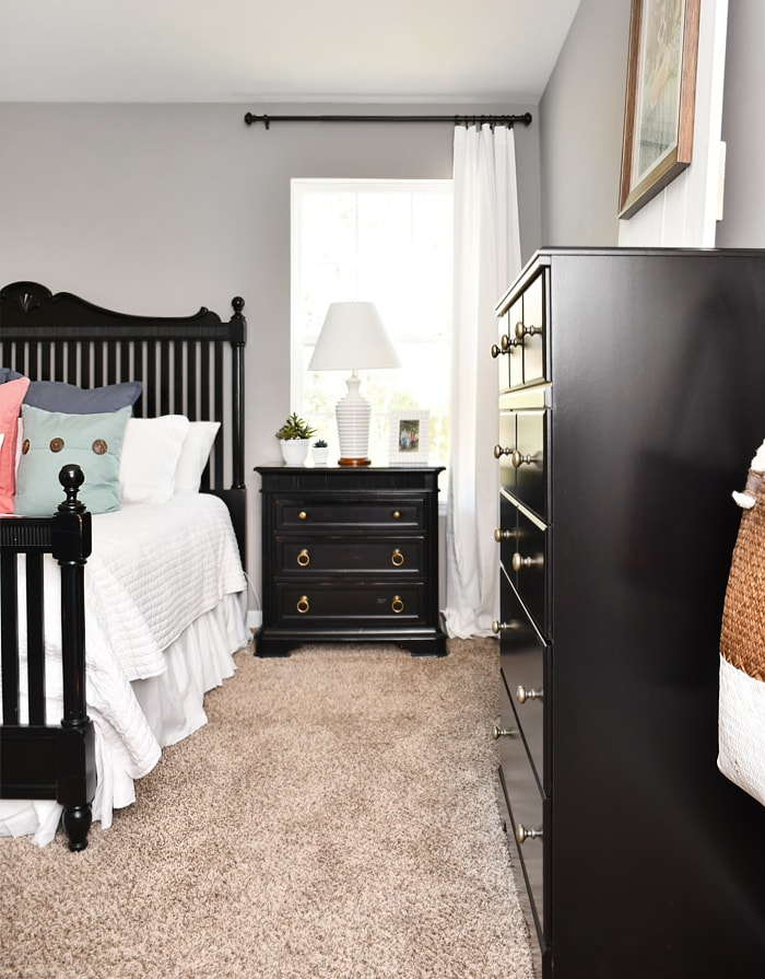 Budget master bedroom makeover with black furniture Master bedroom makeover pinterest