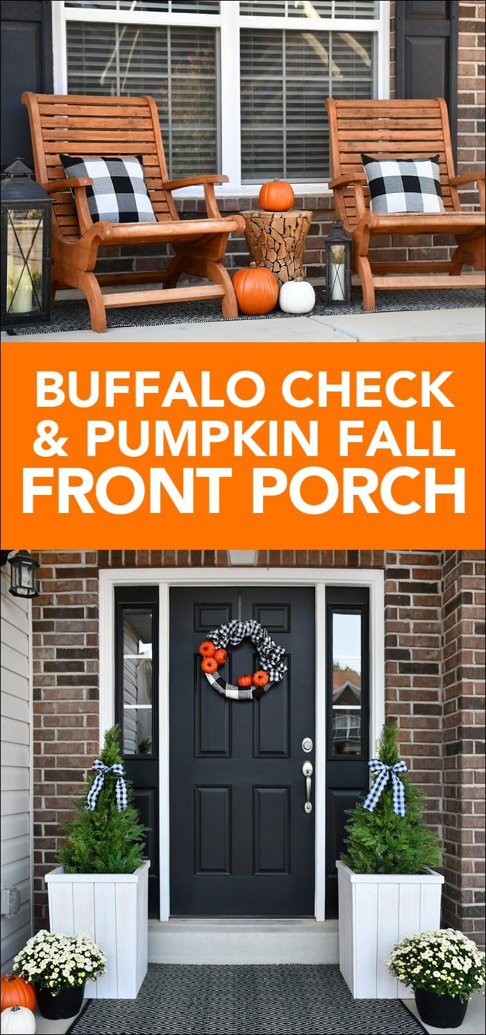 Buffalo check and pumpkin fall front porch poster.