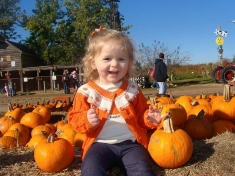 Little girl in an orange sweater surrounded by pumpkins.