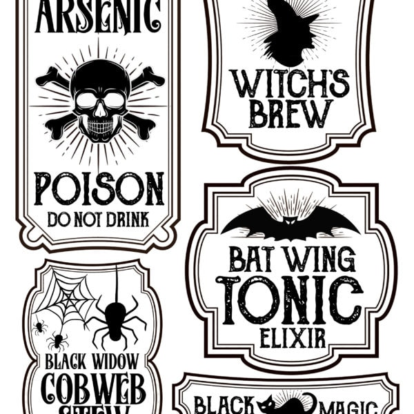 picture regarding Printable Halloween Labels titled Halloween Bottle Labels - Free of charge Printables - Potions Labels