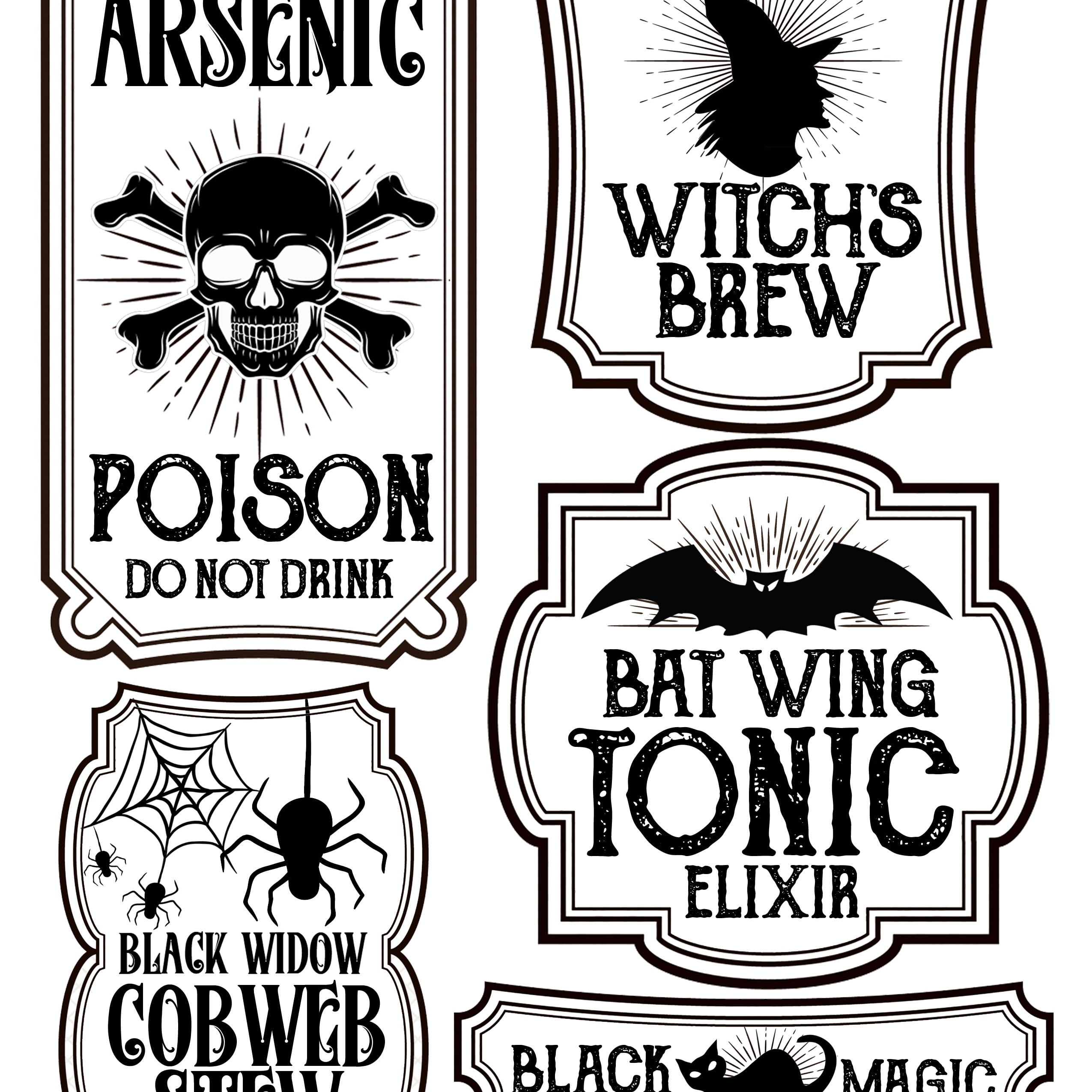 It is a graphic of Crazy Halloween Labels Printables