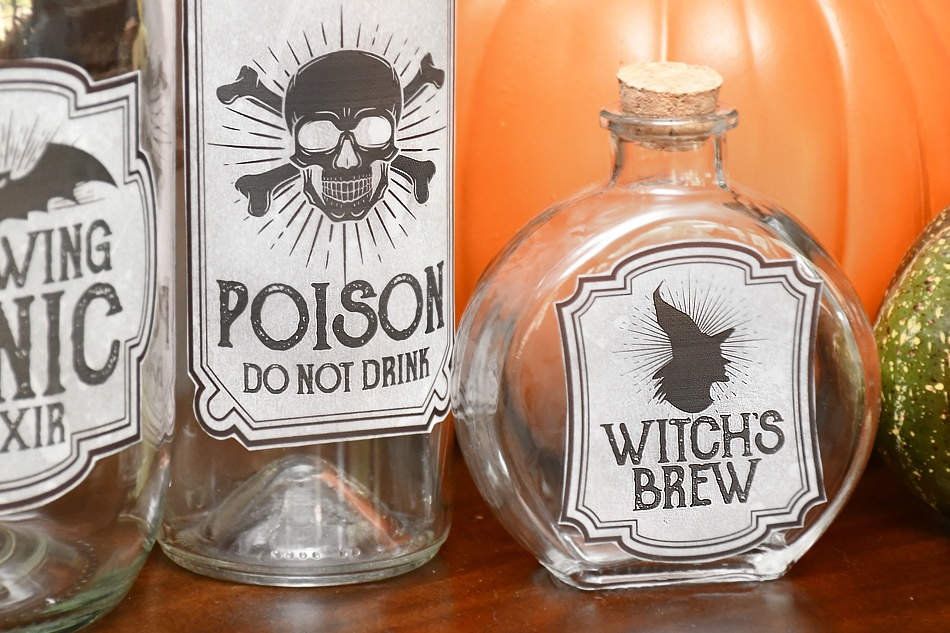 halloween bottle labels free printables