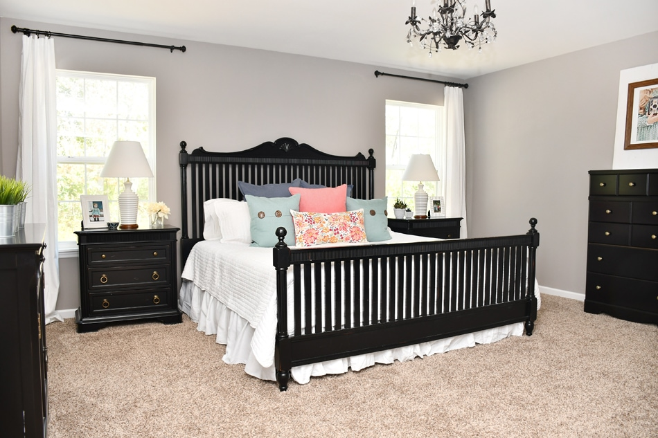 master bedroom makeover black furniture