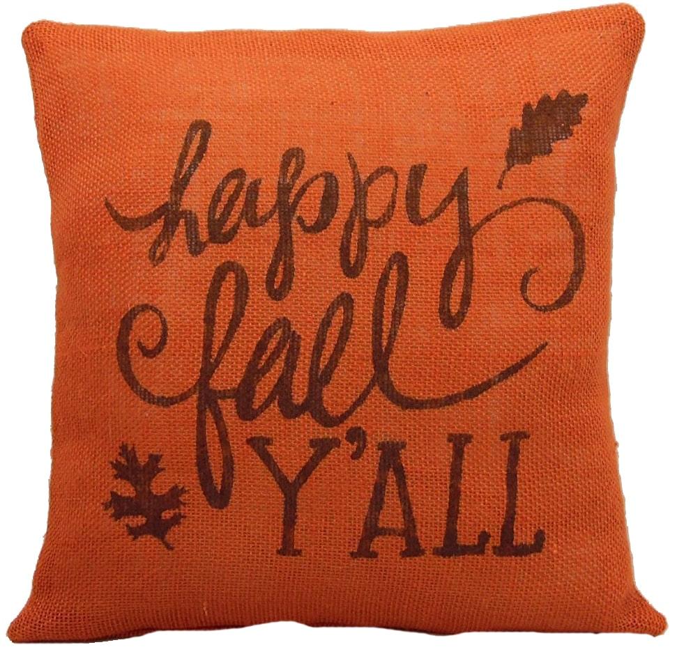 Bright orange pumpkin with happy fall y'all written on it.