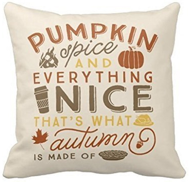 Beige pillow with Pumpkin Spice And Everything Nice Thats What Autumn Is Made Of pillow.