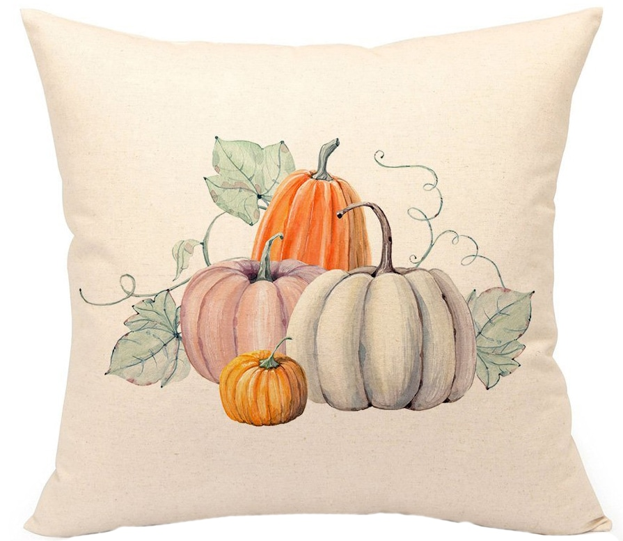 4 watercolor pumpkins with green leaves pillow.
